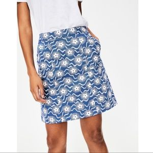 Boden Helena Chino A-Line Blue Star Skirt 4